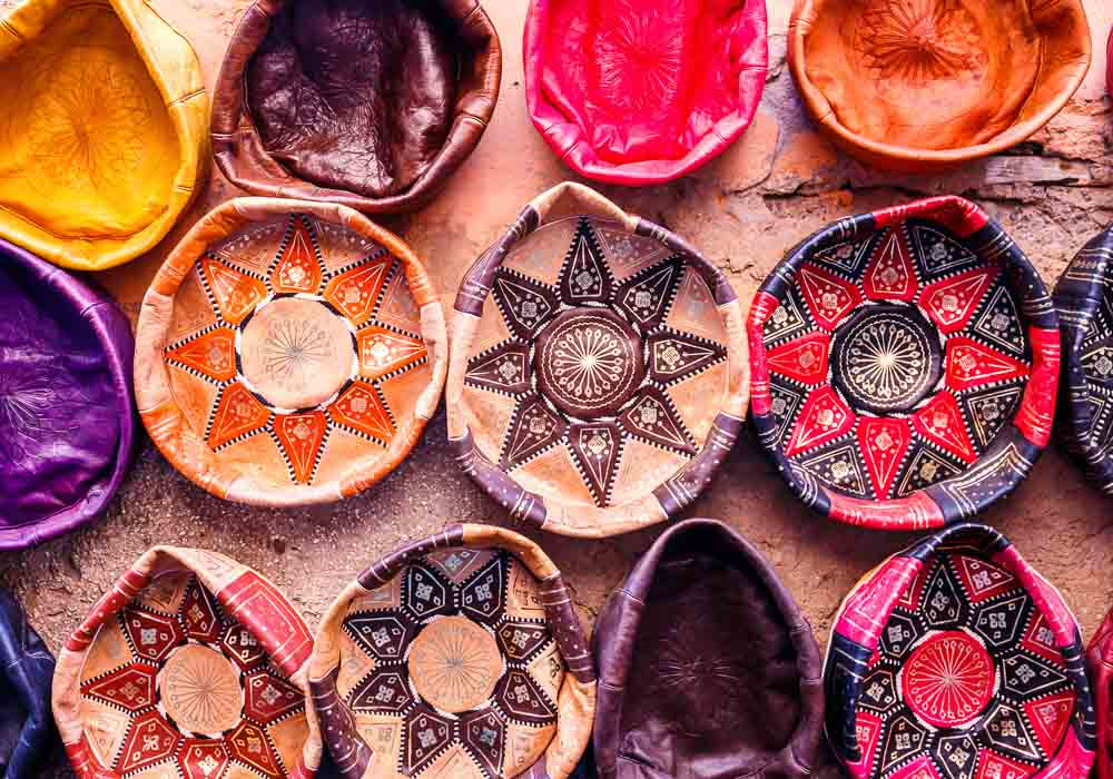 Traditional handmade leather souvenirs in Essaouira, Morocco
